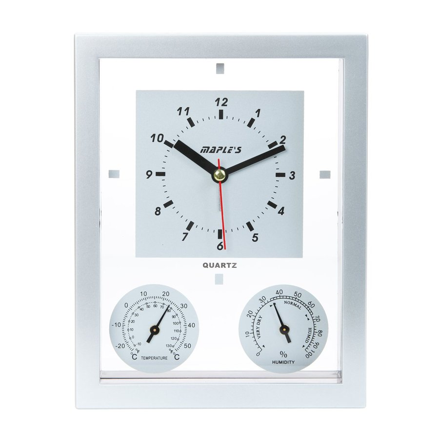 Maple's Multi-Function Analog Rectangle Indoor Wall Combination Clock with Alarm