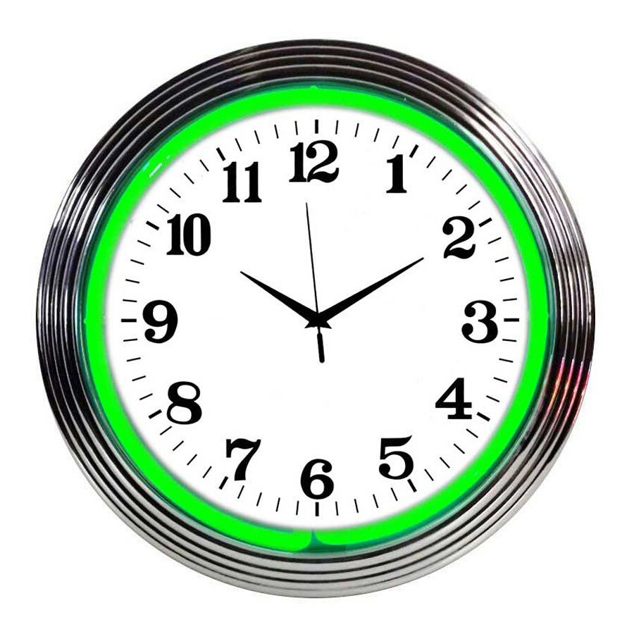 Neonetics Green Neon Analog Round Indoor Wall Clock