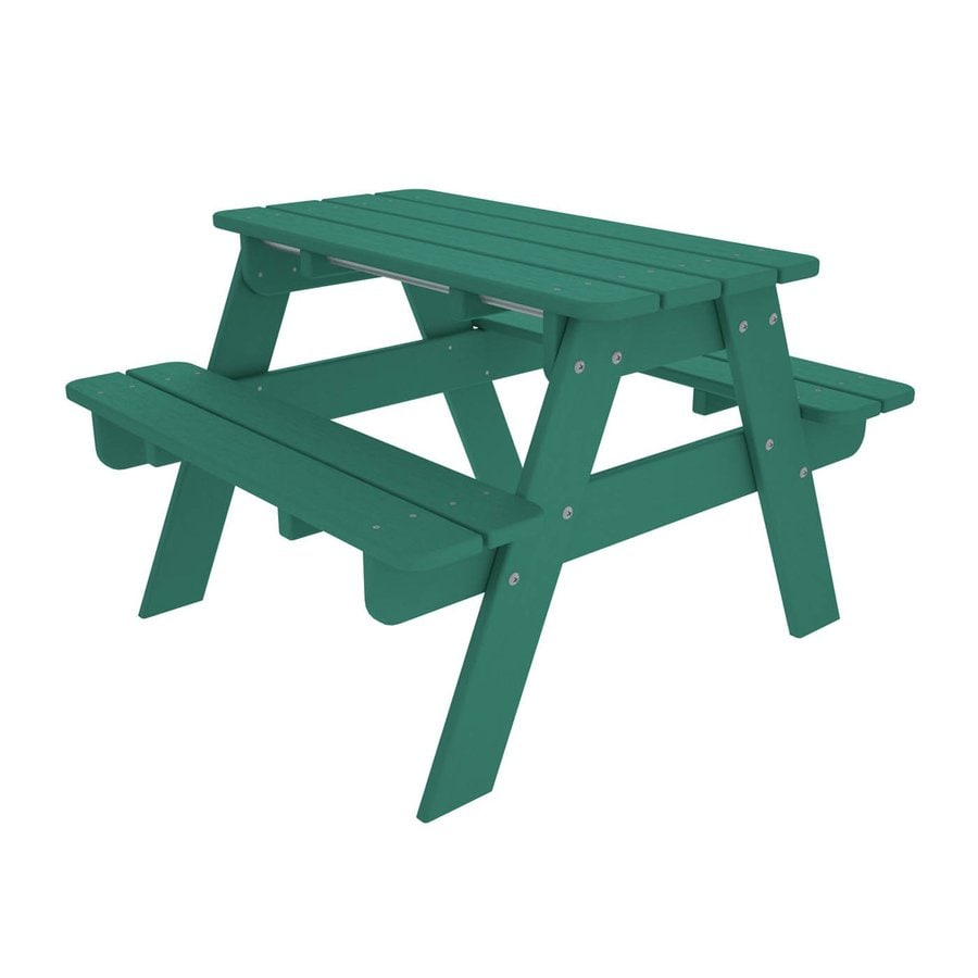 POLYWOOD 33-in Aqua Plastic Rectangle Picnic Table