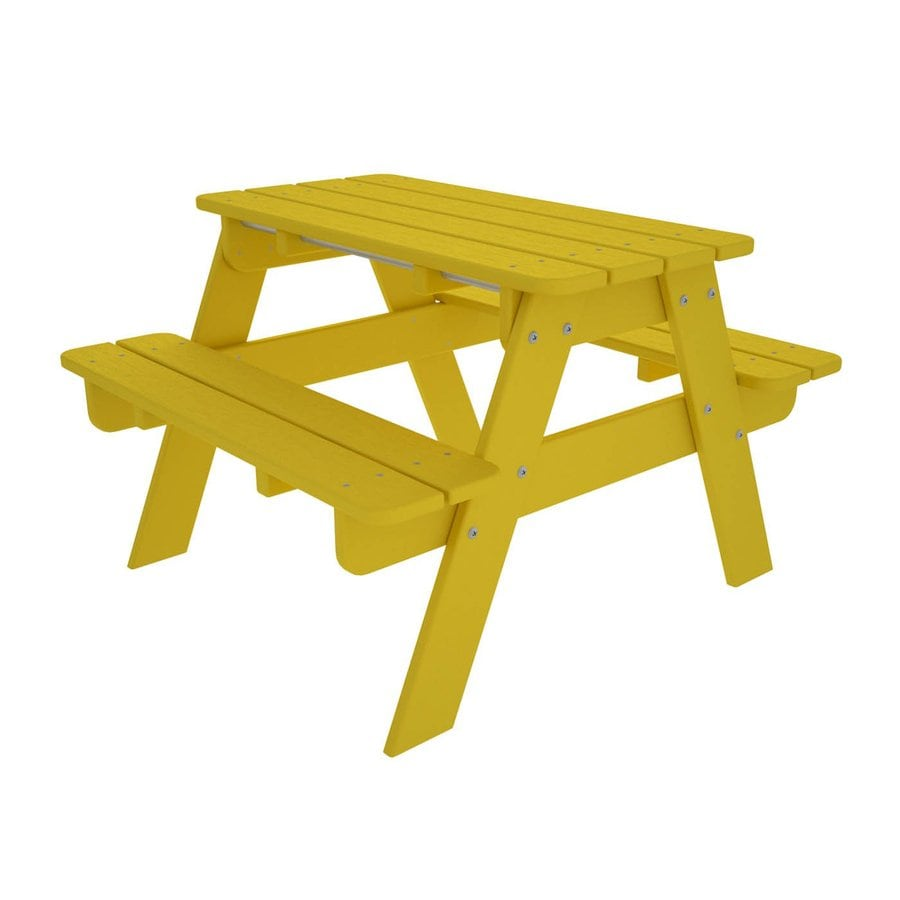 POLYWOOD 33-in Yellow Plastic Rectangle Picnic Table