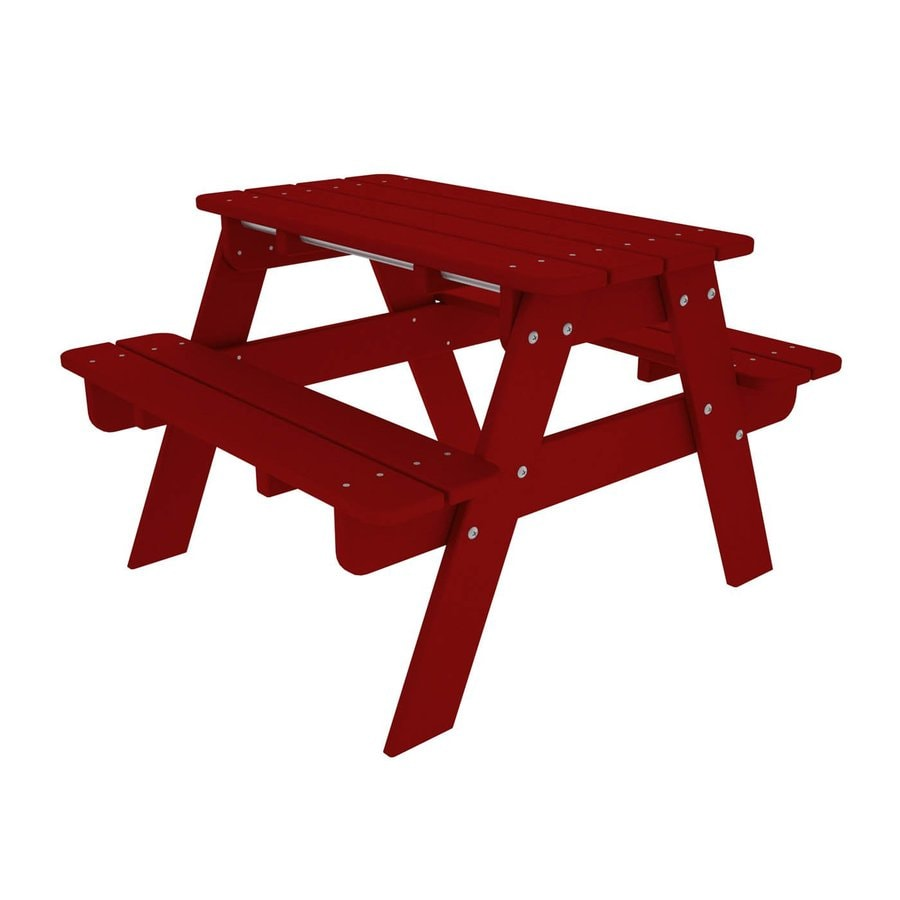 POLYWOOD 33-in Red Plastic Rectangle Picnic Table