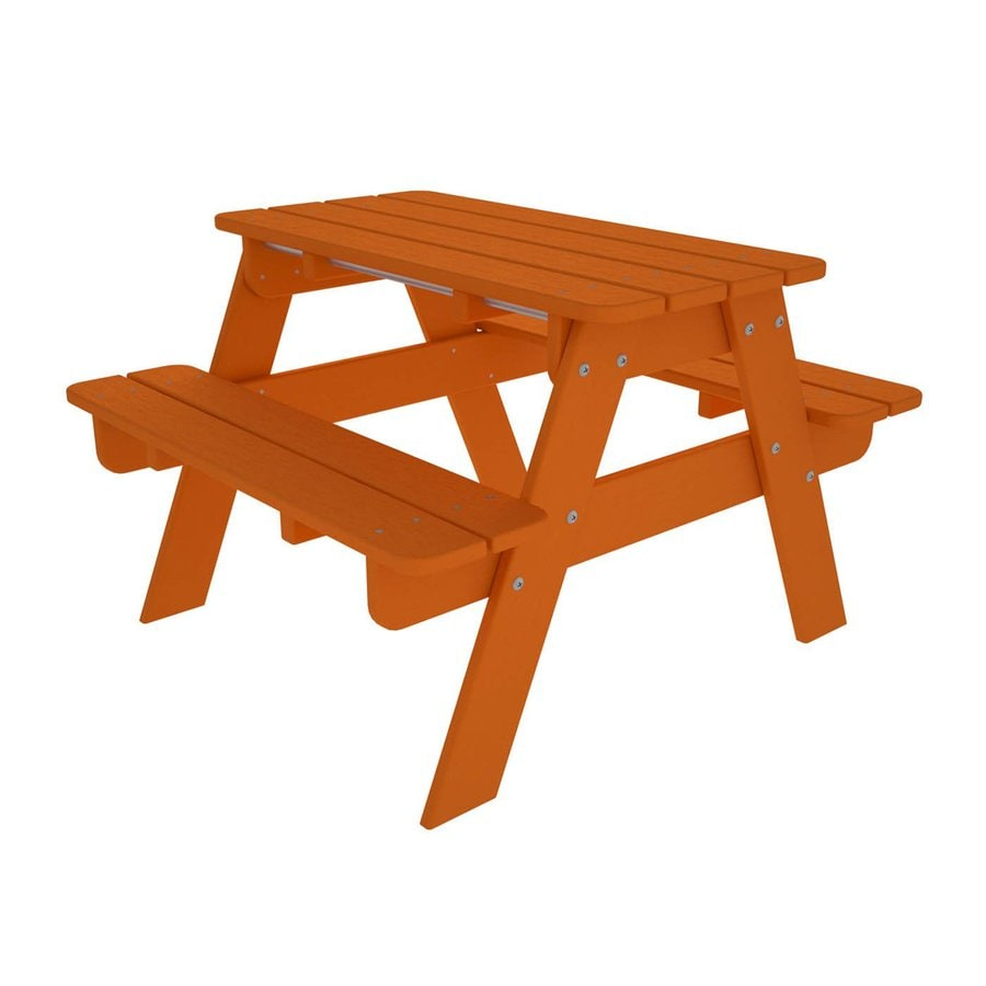 POLYWOOD 33-in Orange Plastic Rectangle Picnic Table