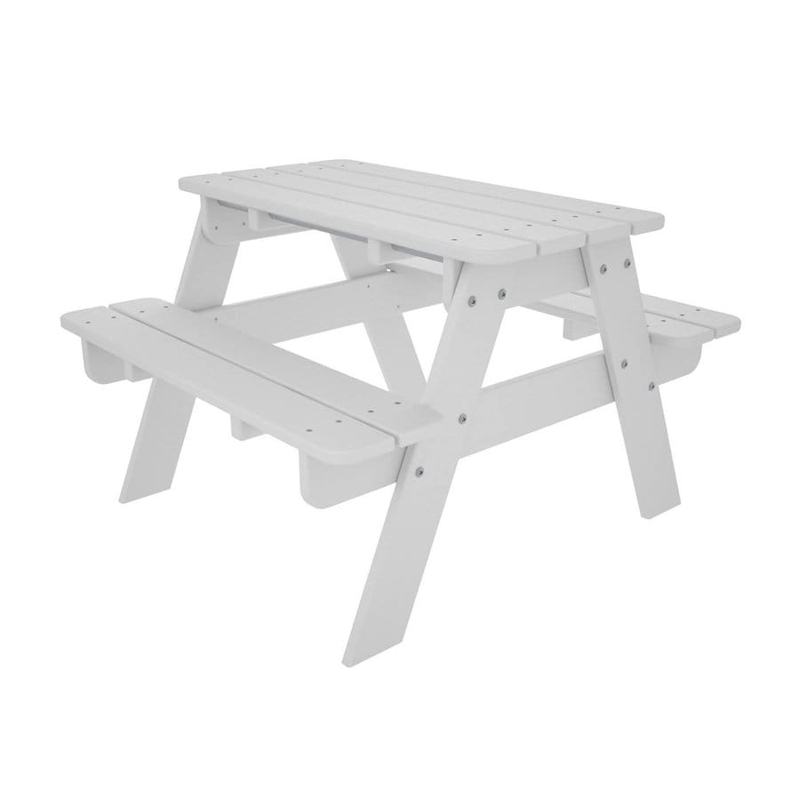 POLYWOOD 33-in White Plastic Rectangle Picnic Table