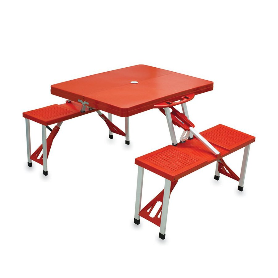 Picnic Time 4-ft 6-in Red/Pink Plastic Rectangle Folding Picnic Table