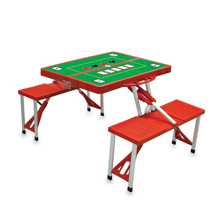Picnic Time 34-in Red Plastic Rectangle Collapsible Picnic Table