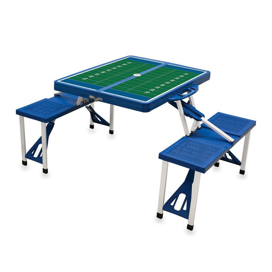 Picnic Time 34-in Blue Plastic Rectangle Collapsible Picnic Table