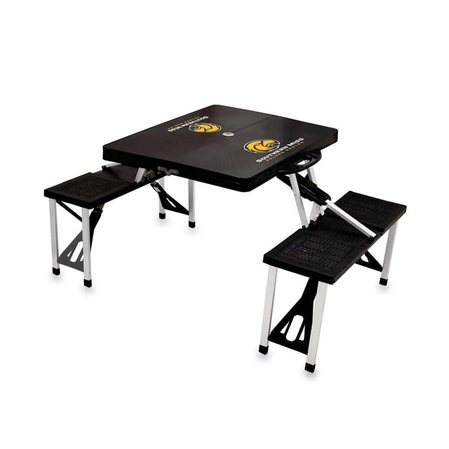 Picnic Time 54-in Black Southern Miss Golden Eagles Plastic Rectangle Collapsible Picnic Table