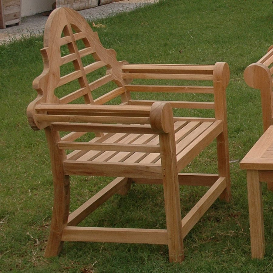 Anderson Teak Marlborough Natural Slat Seat Teak Patio Dining Chair