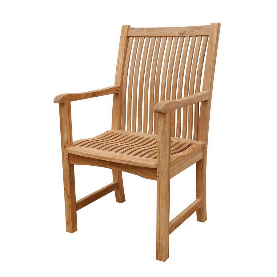 Anderson Teak Chicago Natural Slat Seat Teak Patio Dining Chair