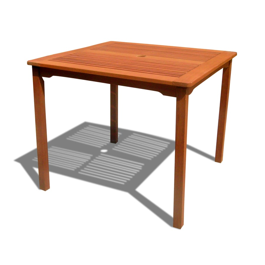 VIFAH 35.4-in W x 35.4-in L Square Eucalyptus Dining Table