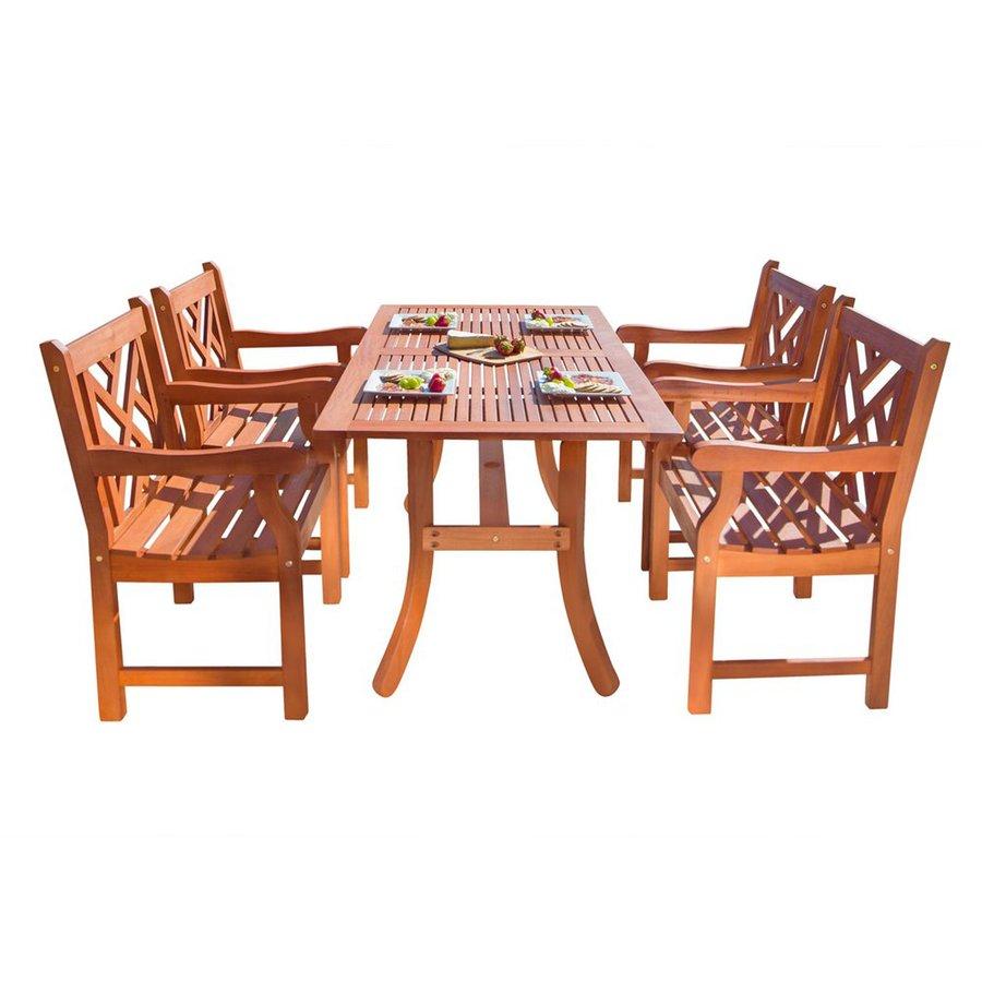 VIFAH Atlantic 5-Piece Natural Eucalyptus Patio Dining Set