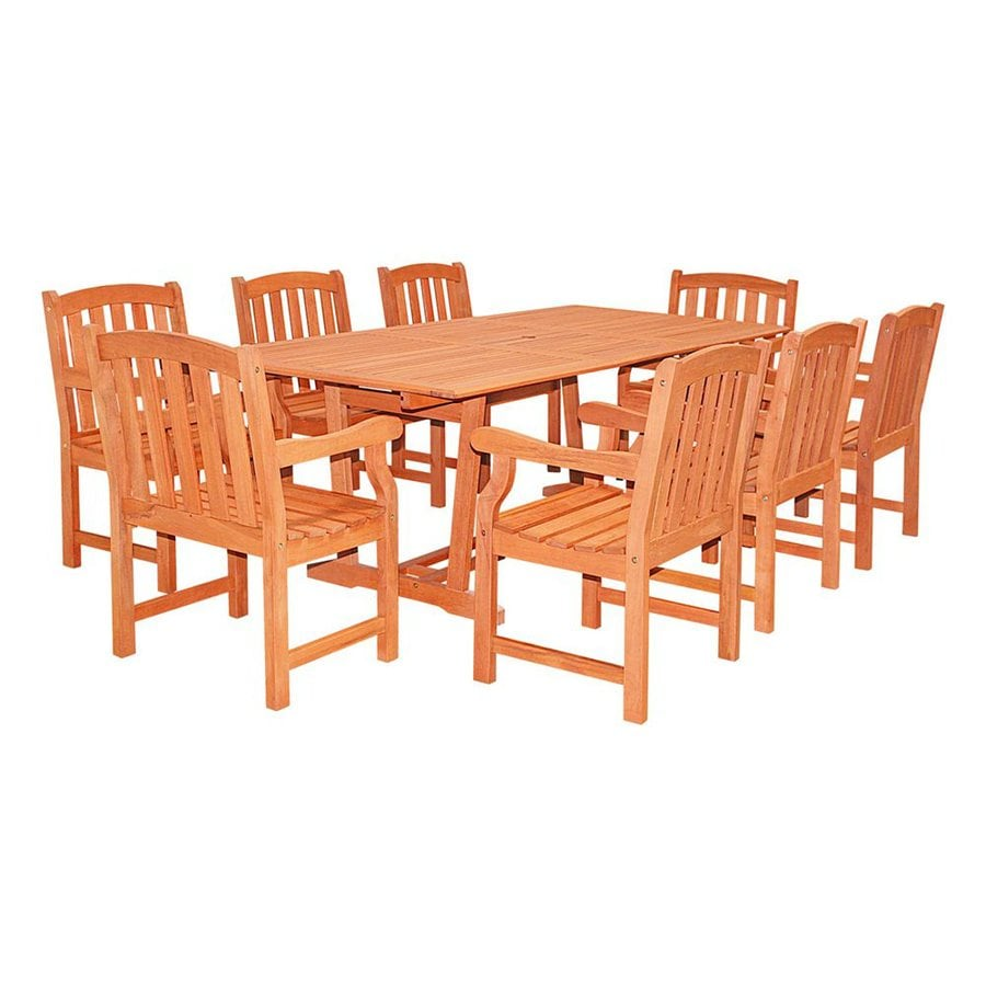 VIFAH Bradley 9-Piece Natural Eucalyptus Patio Dining Set