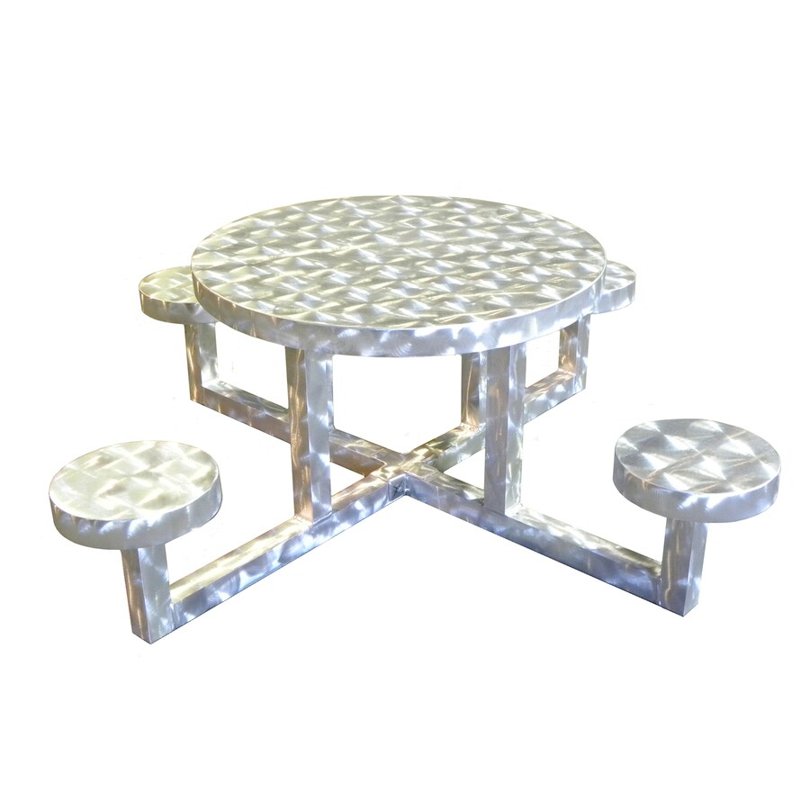 Ofab Silver Translucent Cast Aluminum Round Picnic Table