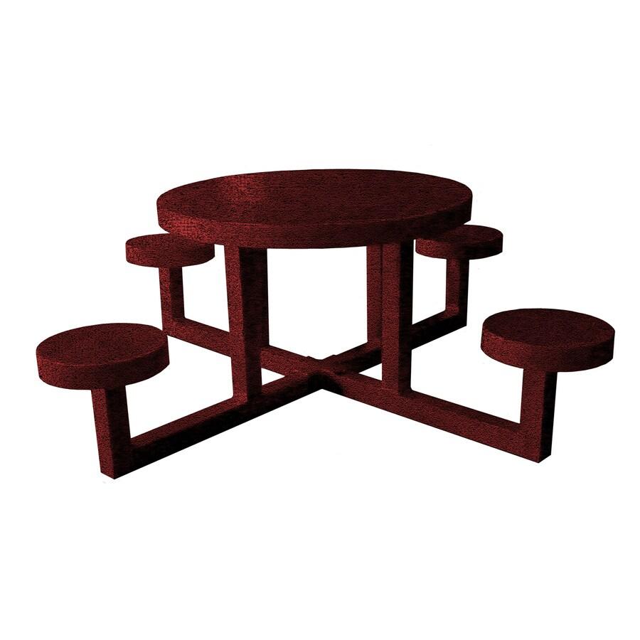 Ofab Burgundy Tatter Cast Aluminum Round Picnic Table