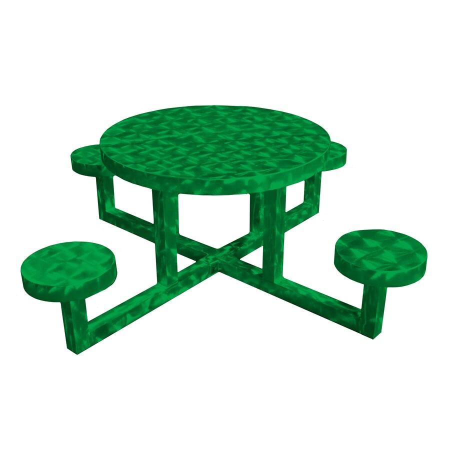 Ofab Green Translucent Cast Aluminum Round Picnic Table