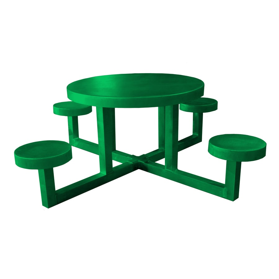 Ofab Green Cast Aluminum Round Picnic Table
