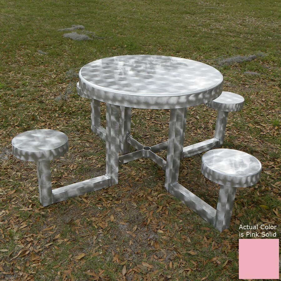 Ofab Pink Cast Aluminum Round Picnic Table