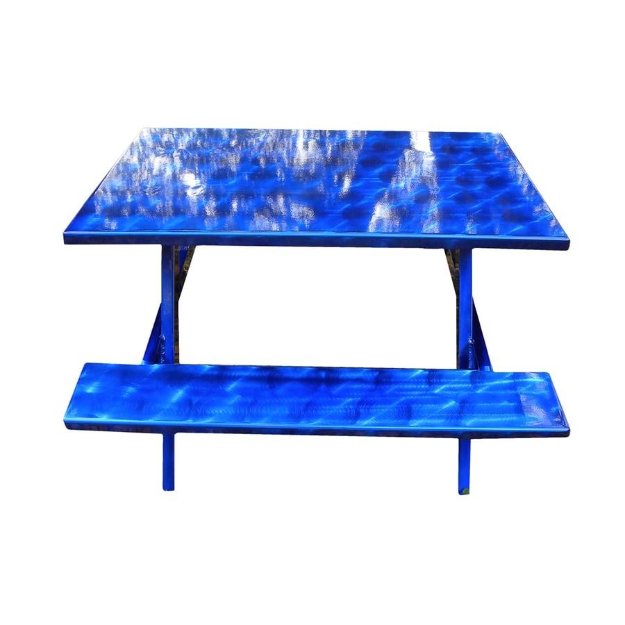Ofab Blue Translucent Cast Aluminum Rectangle Picnic Table