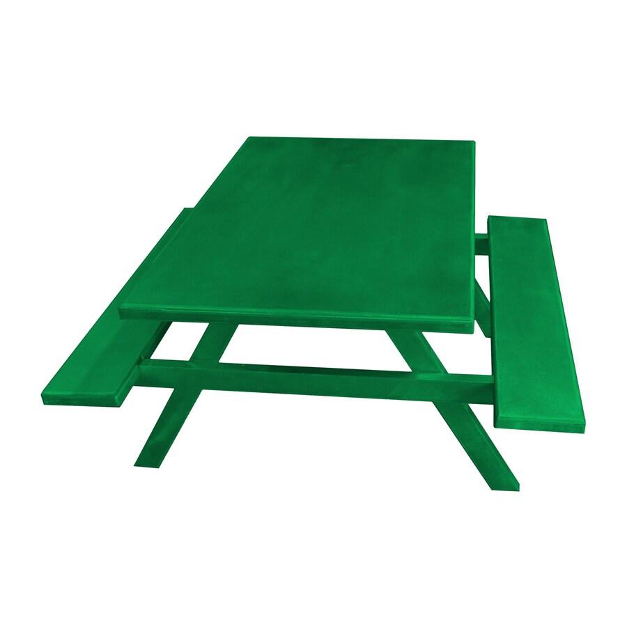 Ofab Green Cast Aluminum Rectangle Picnic Table