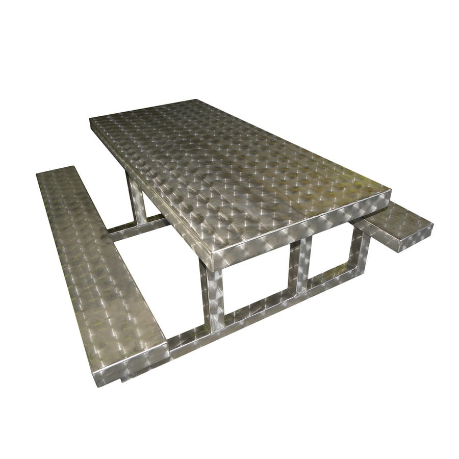 Ofab Silver Translucent Cast Aluminum Rectangle Picnic Table