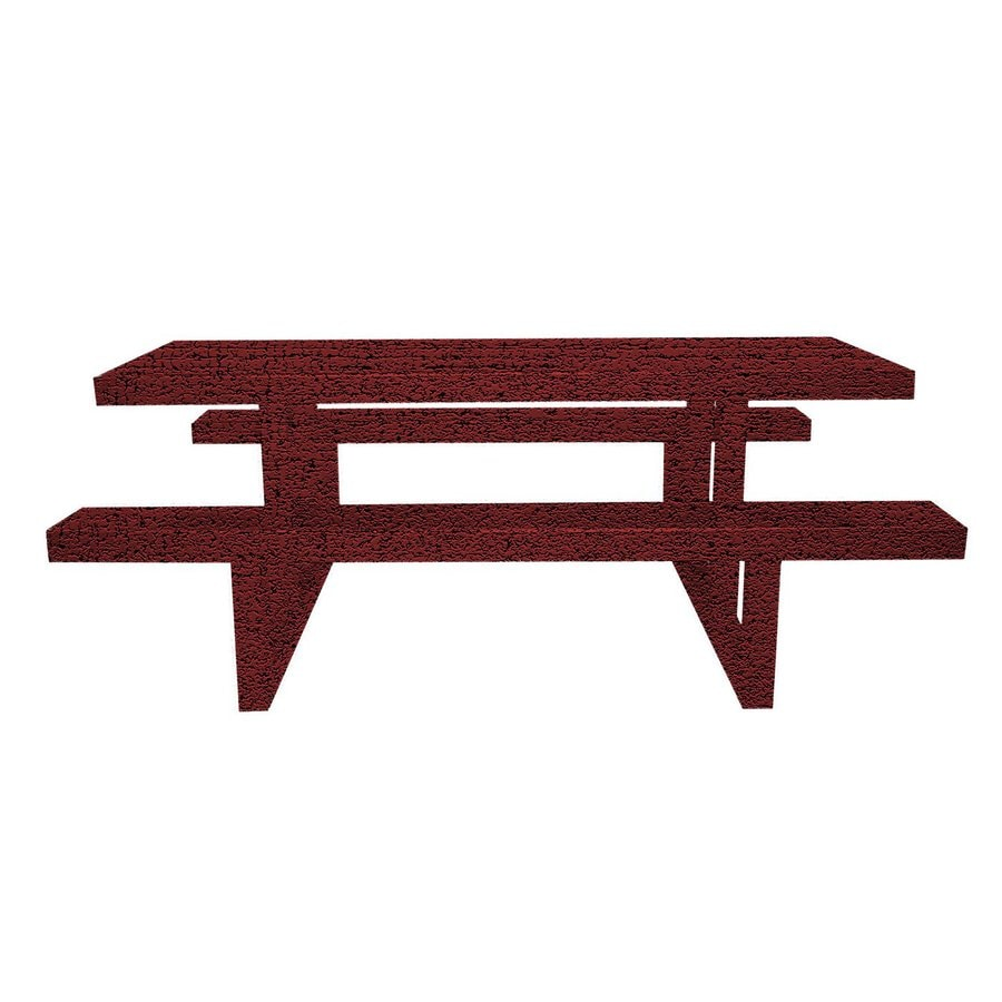 Ofab Burgundy Tatter Cast Aluminum Rectangle Picnic Table