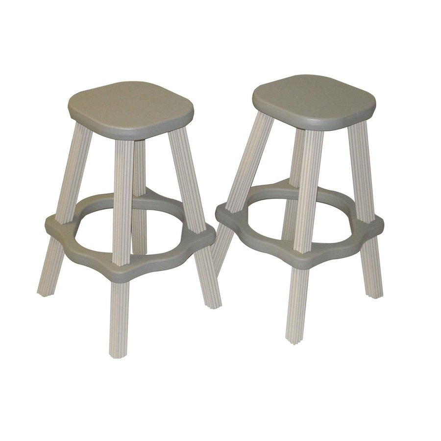 Confer Plastics Patio Essentials 2-Count Gray Plastic Stackable Patio Barstool Chairs
