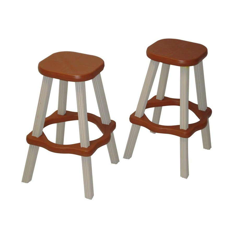 Confer Plastics Patio Essentials 2-Count Redwood Plastic Stackable Patio Barstool Chairs