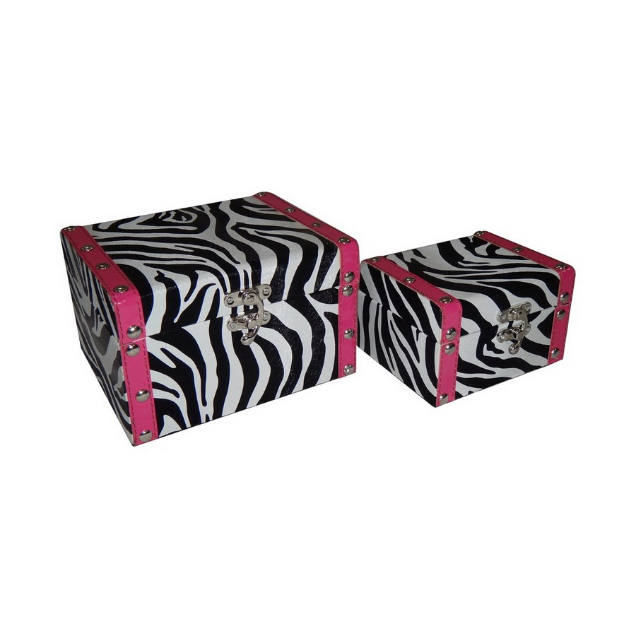 Cheung's Set of 2 Rectangular Zebra with Pink Border Boxes