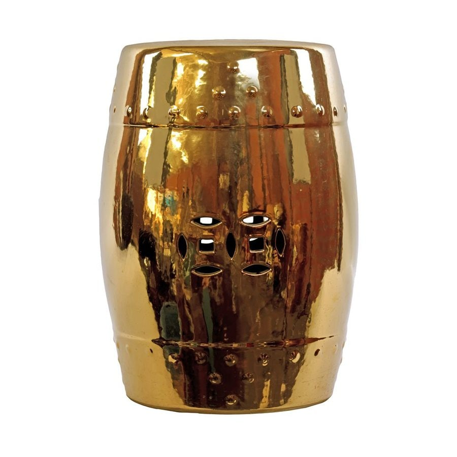 Urban Trends 18-in Polished Gold Ceramic Garden Stool