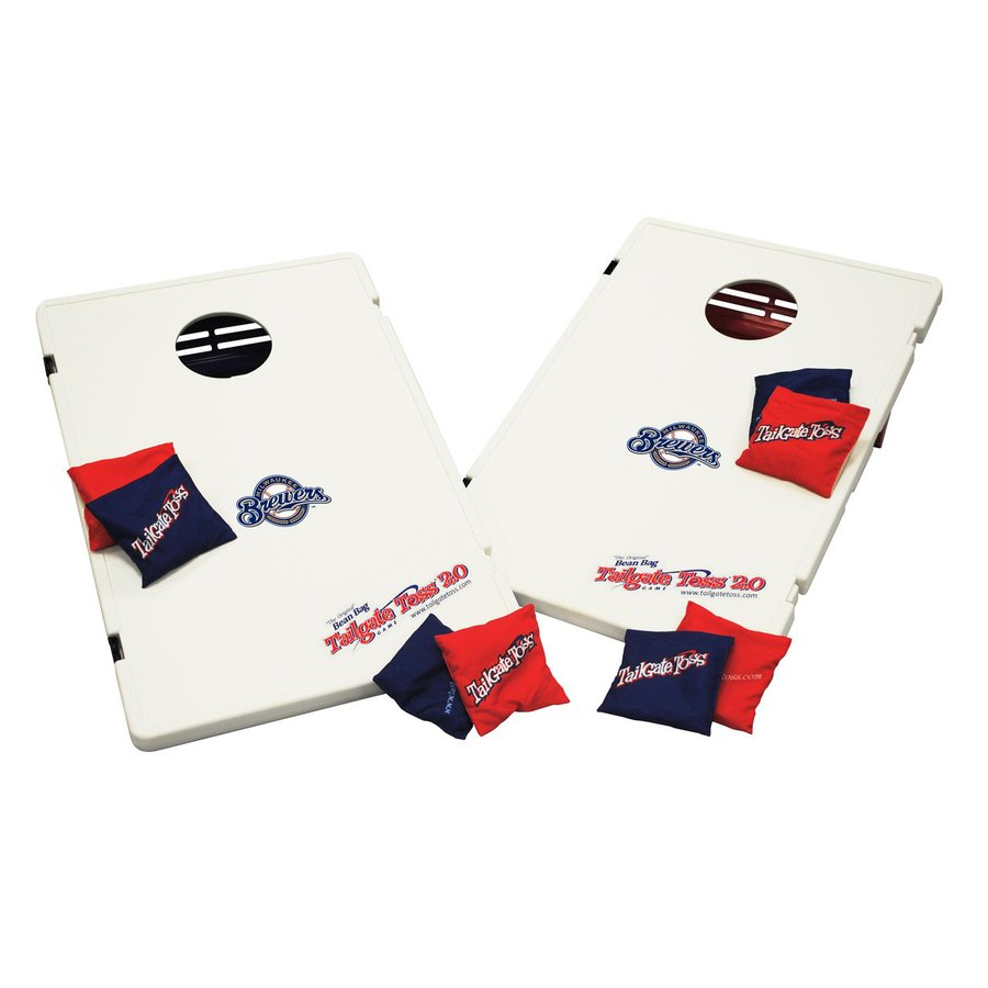 Wild Sports Milwaukee Brewers Outdoor Corn Hole Party Game with Case