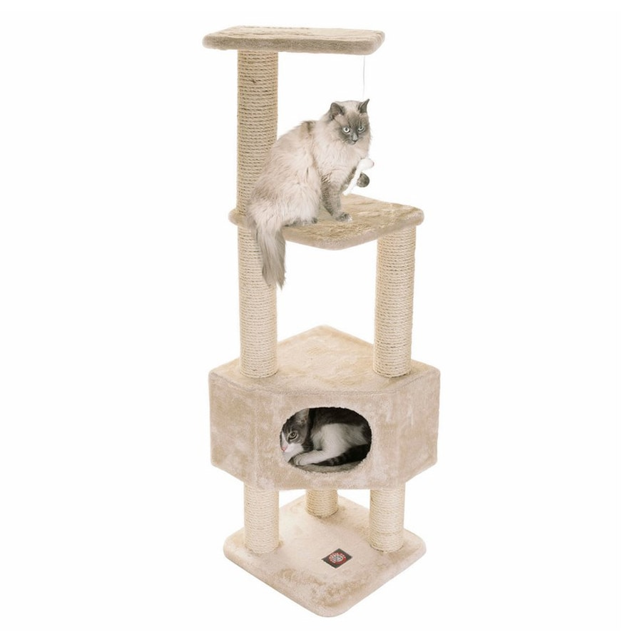 Majestic Pets Casita 52-in Off-White Faux Fur Cat Tree