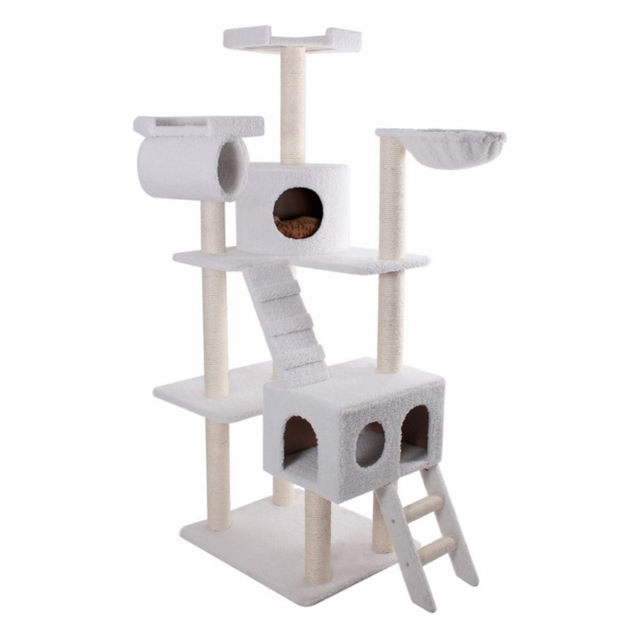 Majestic Pets Casita 73-in White Faux Fur Cat Tree