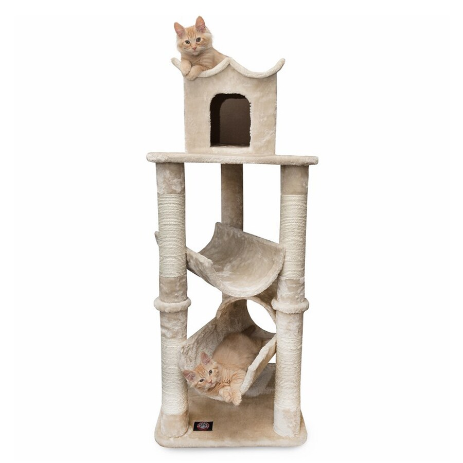 Majestic Pets Casita 47-in Off-White Faux Fur Cat Tree