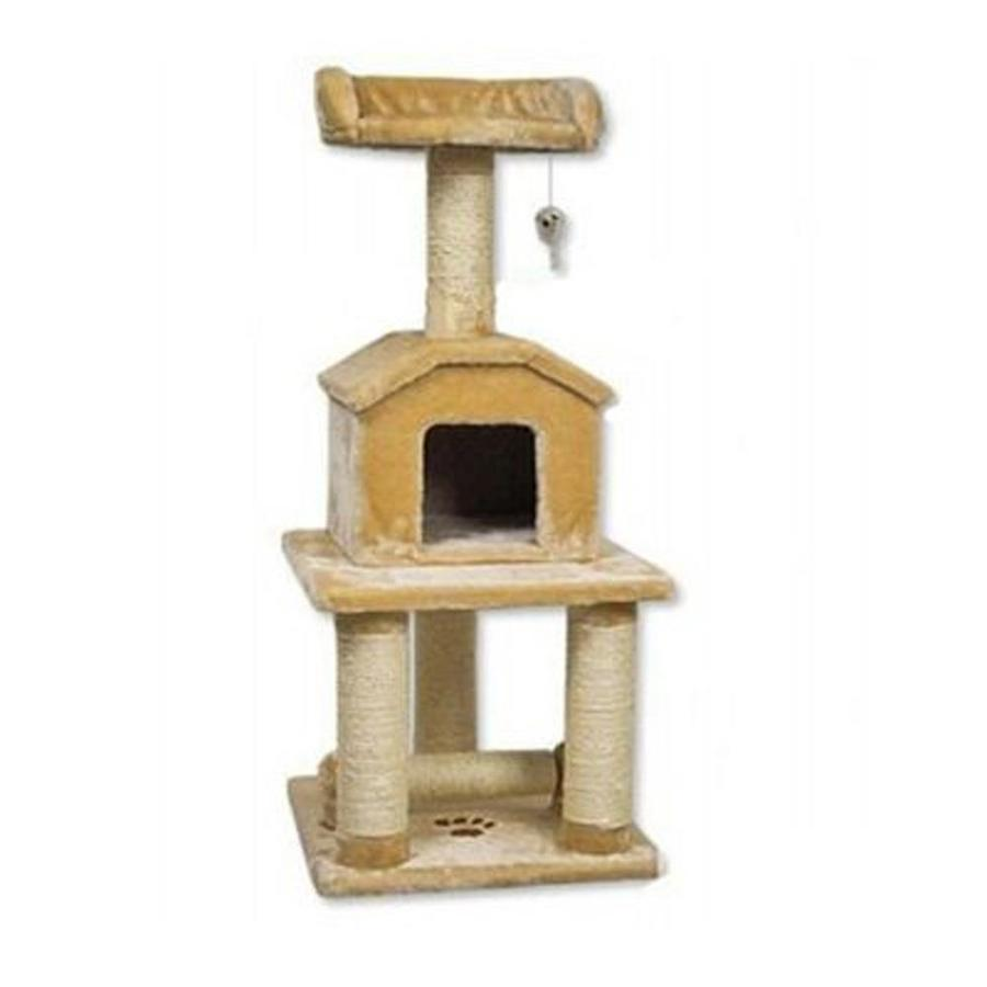 Go Pet Club 45-in Beige Faux Fur 4-Level Cat Tree
