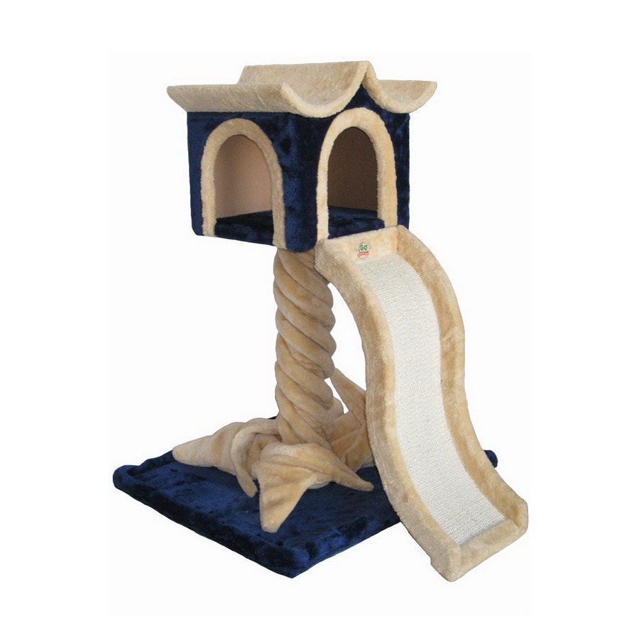 Go Pet Club 36-in Multicolor Faux Fur 1-Level Cat Tree