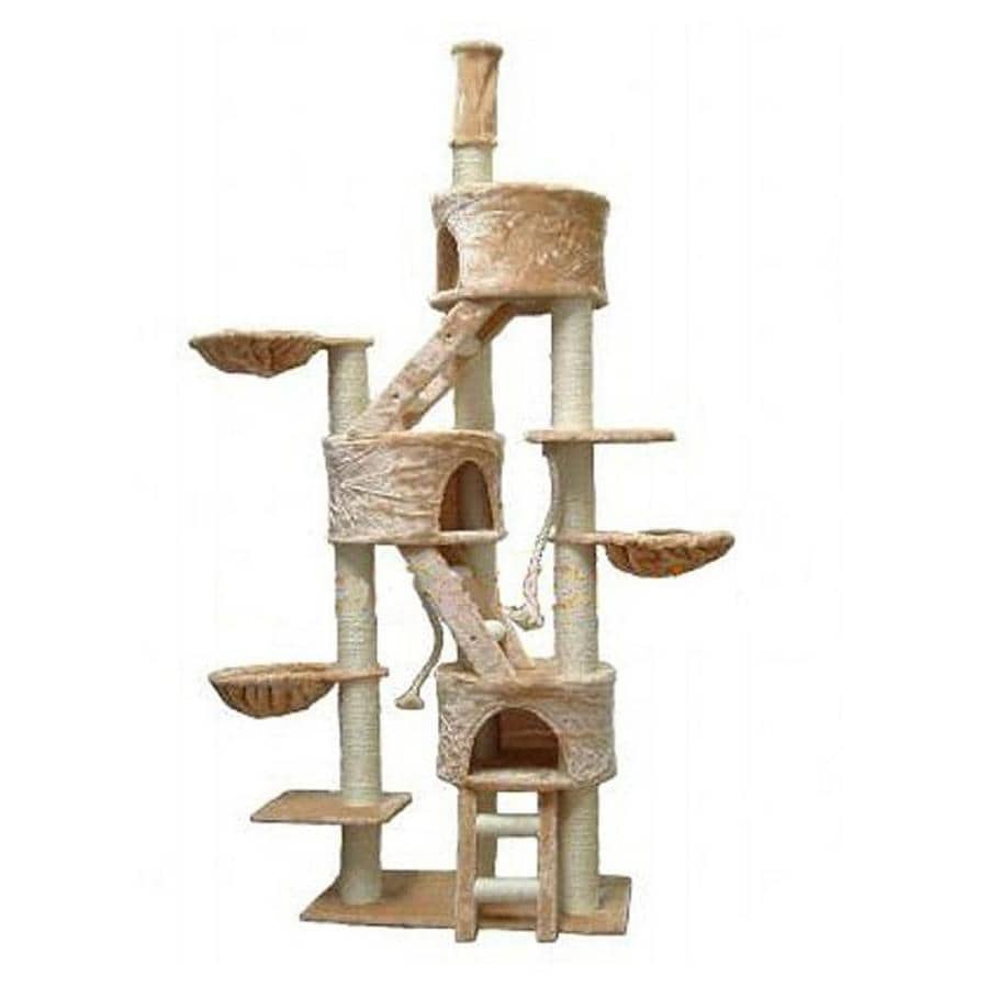 Go Pet Club 106-in Beige Faux Fur 18-Level Cat Tree