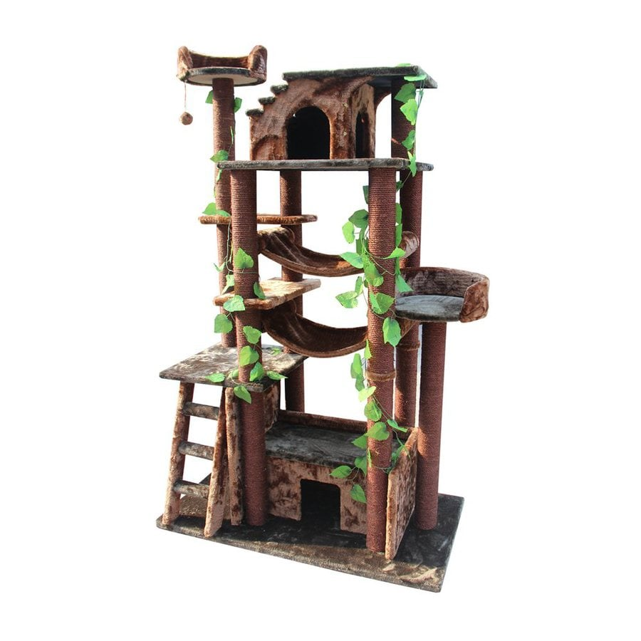kitty mansions Amazon 78-in Brown Faux Fur Cat Tree