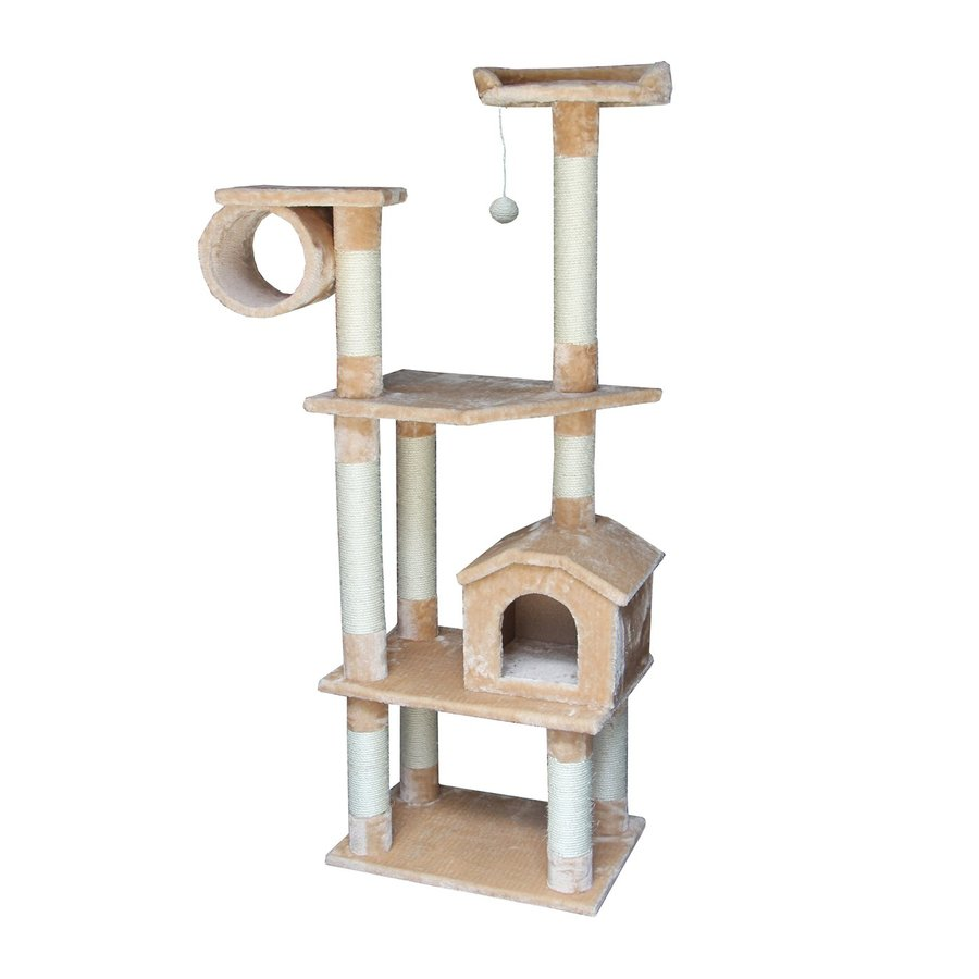 kitty mansions Baltimore 68-in Brown Faux Fur Cat Tree