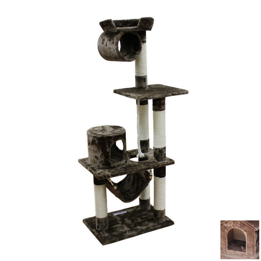 kitty mansions Dallas 60-in Faux Fur 3-Level Cat Tree