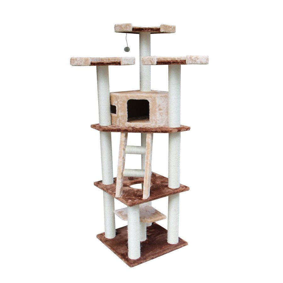 kitty mansions Hollywood 75-in Brown Faux Fur Cat Tree