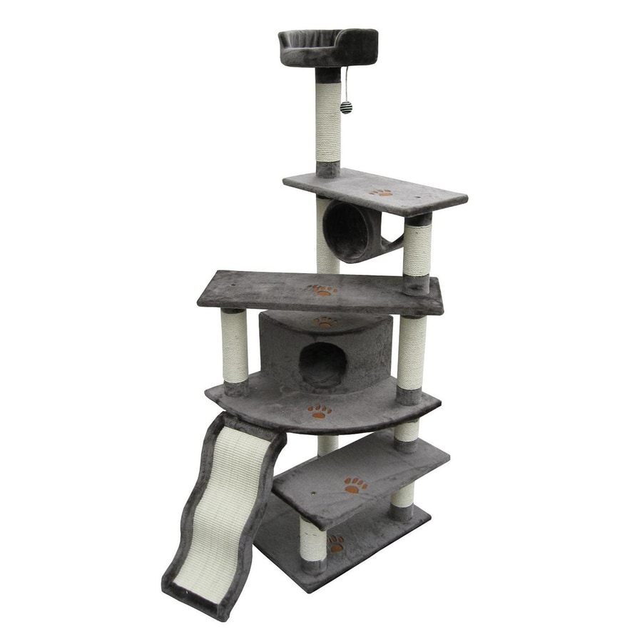 kitty mansions Shanghai 71-in Gray Faux Fur Cat Tree