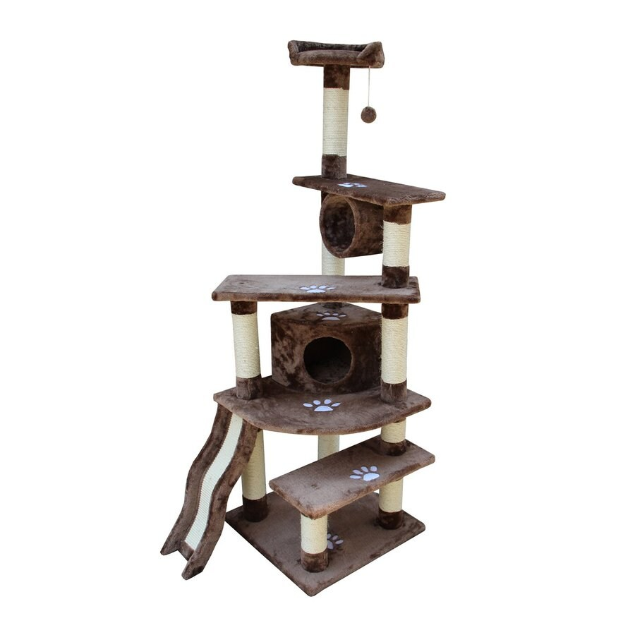 kitty mansions Shanghai 71-in Brown Faux Fur Cat Tree
