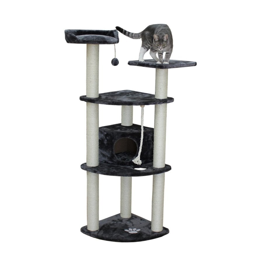 kitty mansions Toronto 60-in Gray Faux Fur Cat Tree