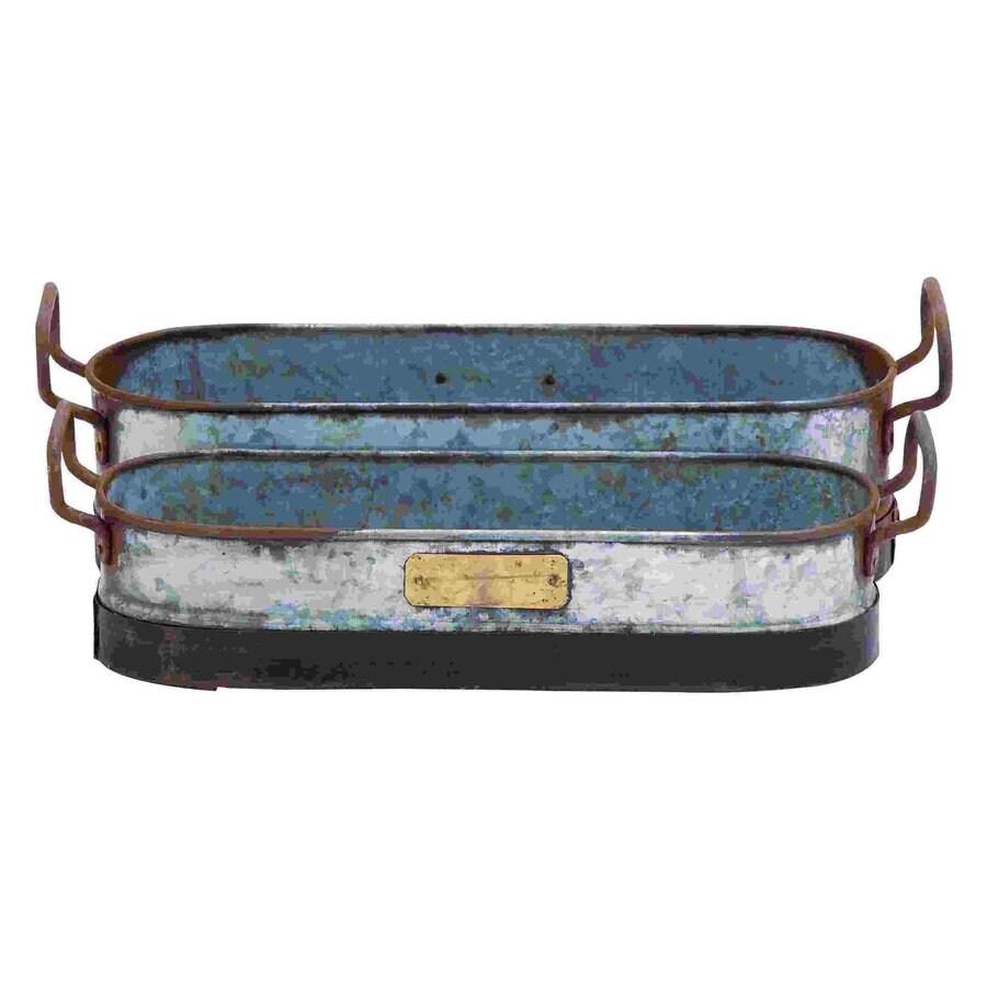 Woodland Imports x Rustic Grey Metal Planter