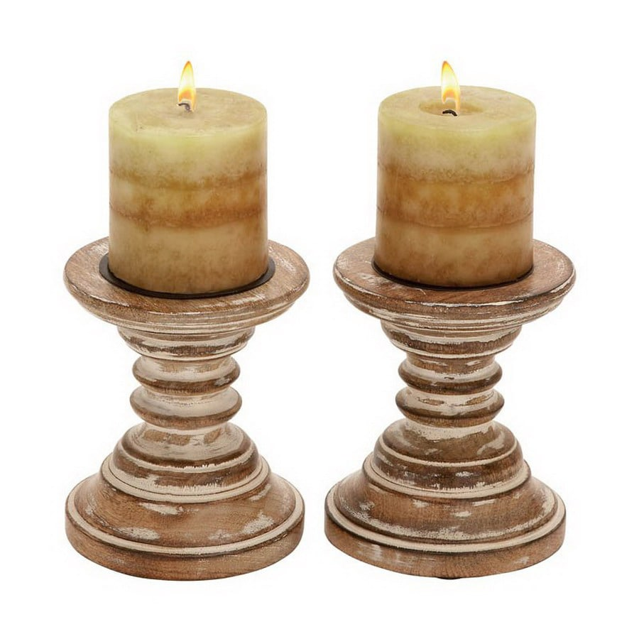 Woodland Imports Wood Candle Holder