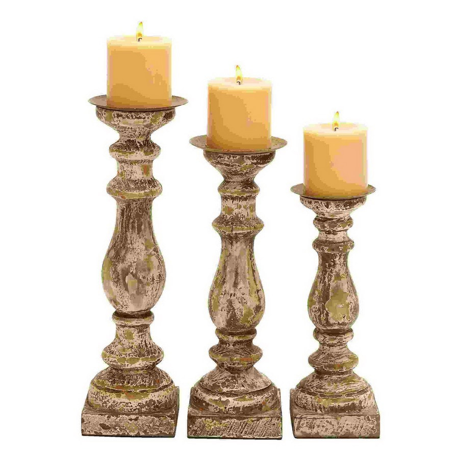 Woodland Imports 3 Candle Beige Wood Pillar Candle Holder Set