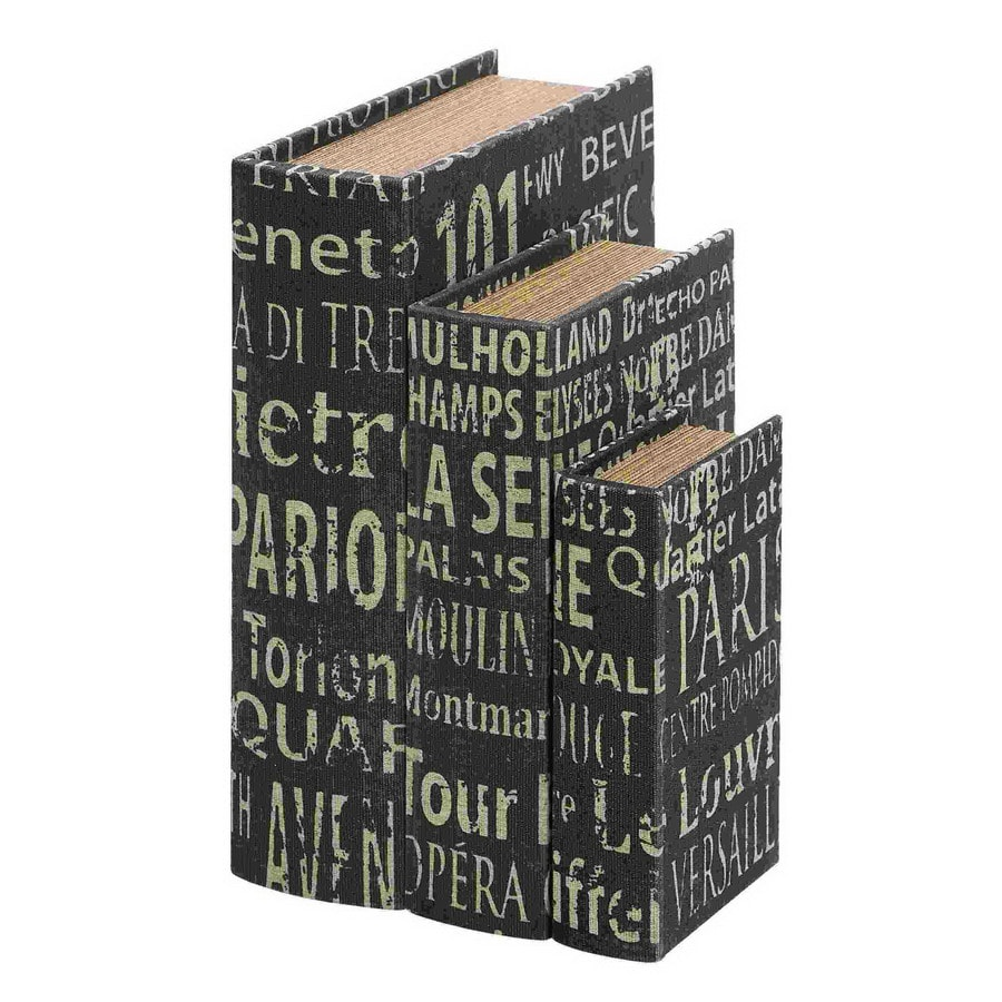 Shop woodland imports set of 3 wood and leather faux book for Decor containers coles