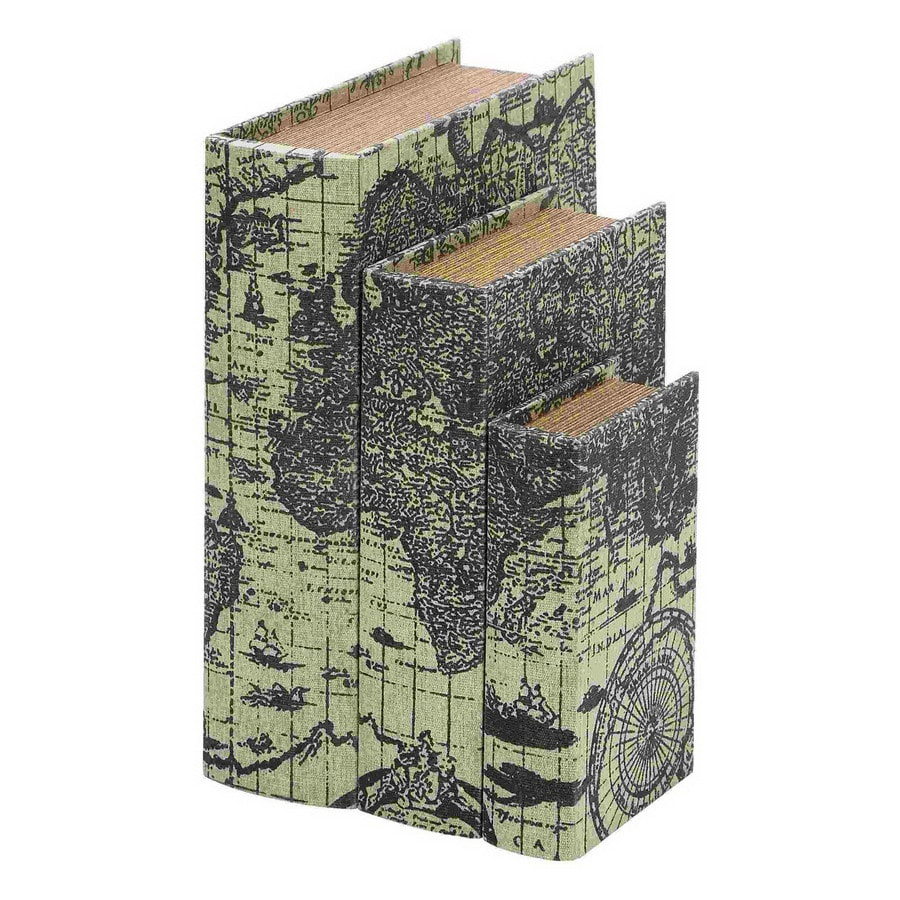 Woodland Imports Set of 3 Wood Faux Book Boxes