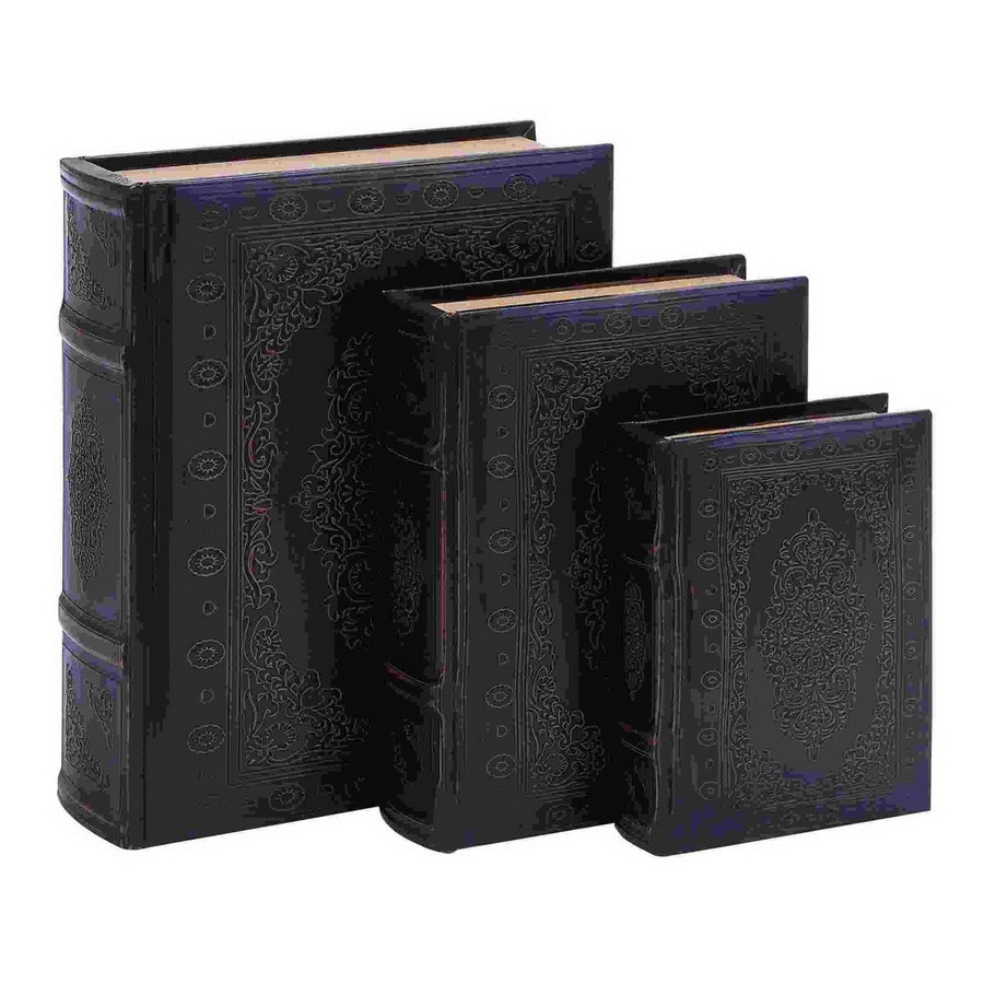 Woodland Imports Set of 3 Wood and Leather Faux Book Boxes