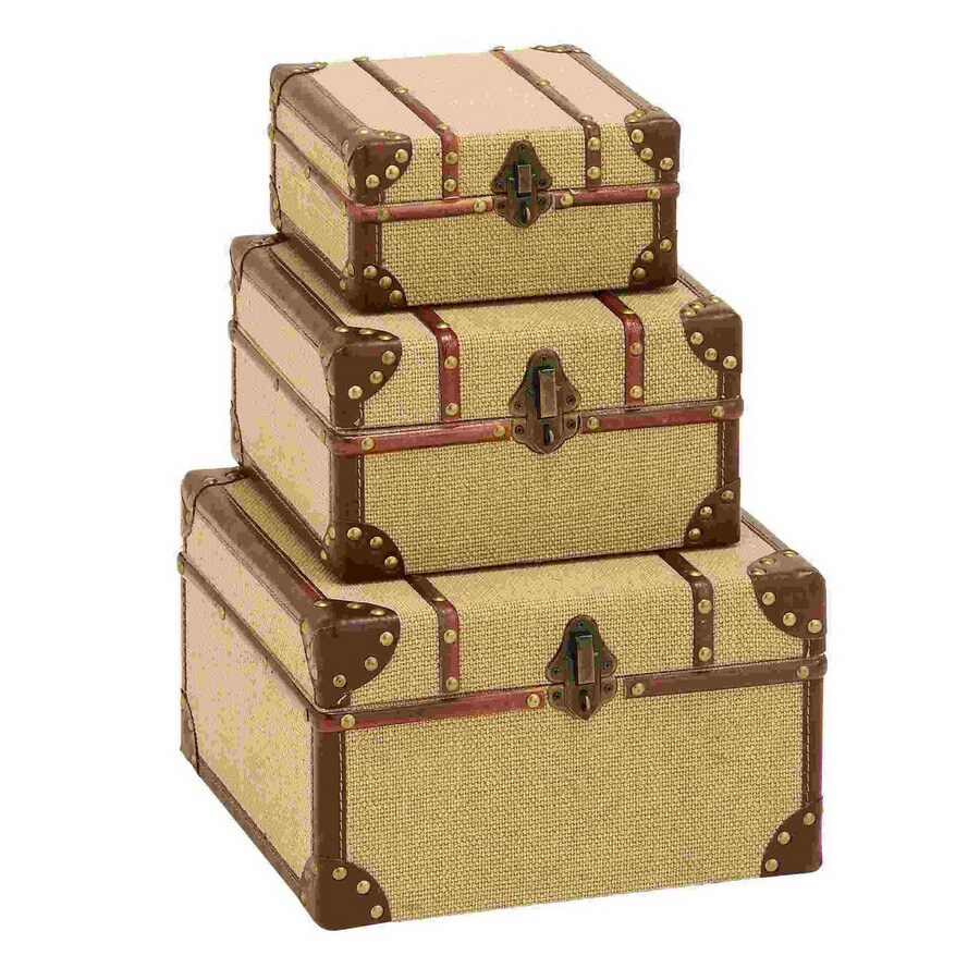 Woodland Imports Set of 3 Wood and Burlap Travel Trunk Boxes